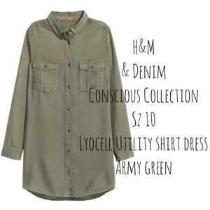 H&M Lyocell Utility Army Shirt Dress Ethical